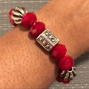 Jewelry - Red Swarovski Silver Fan Ball Bracelet
